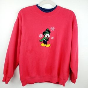 DISNEY Mickey Mouse Red Christmas Holiday Sweater
